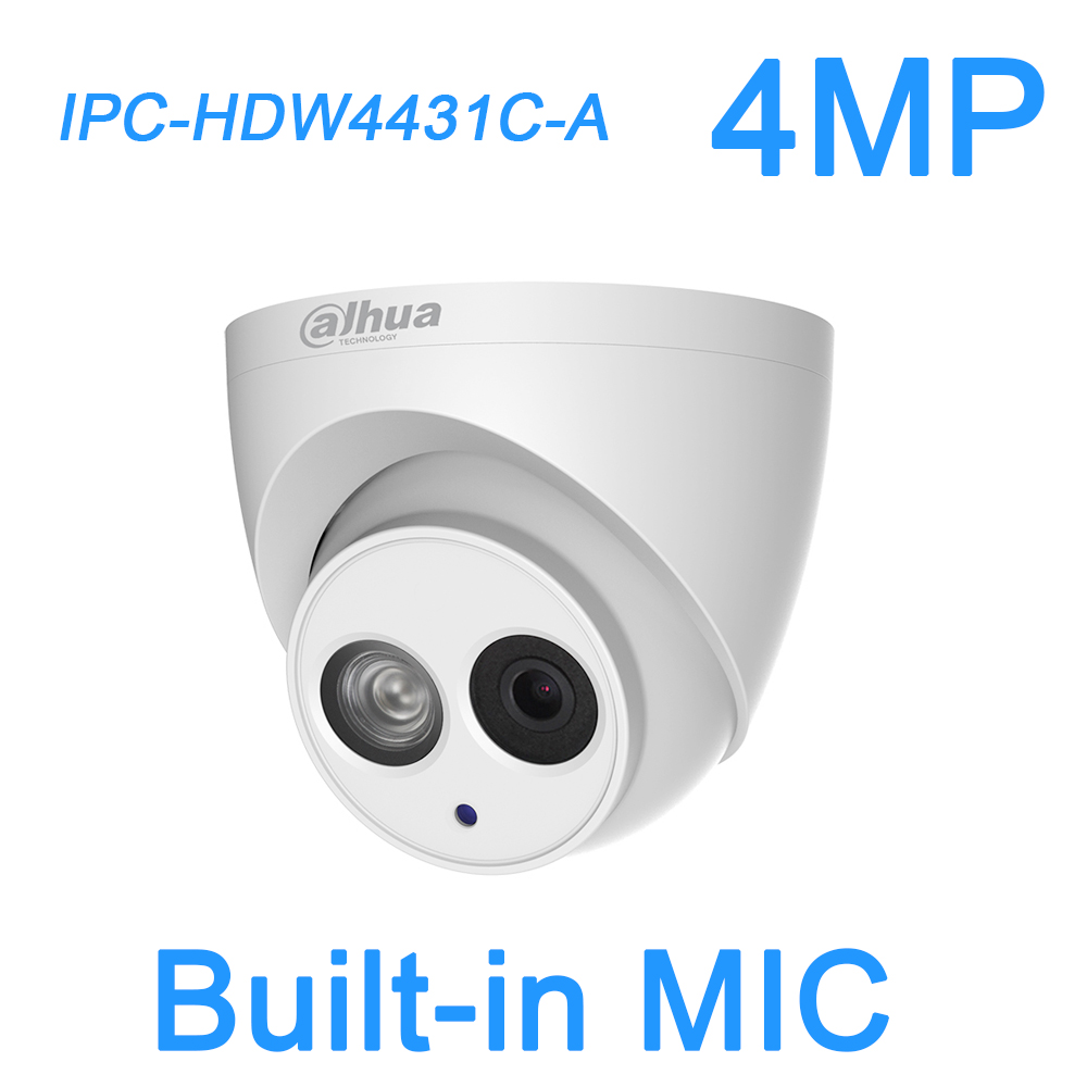 Dahua 4MP IP Camera h.265 PoE Built-in MIC IPC-HDW4431C-A -V2 IR security cctv Dome Camera HDW4431C-A -V2 English firmware dahua original english version firmware upgradable ipc hdw1320s 3mp 1080p ip poe onvif dome ir network cctv security camera