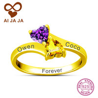 AIJAJA Personalized Name Engraving Heart Stone DIY Promise Ring 925 Sterling Silver Ring Gold Color With
