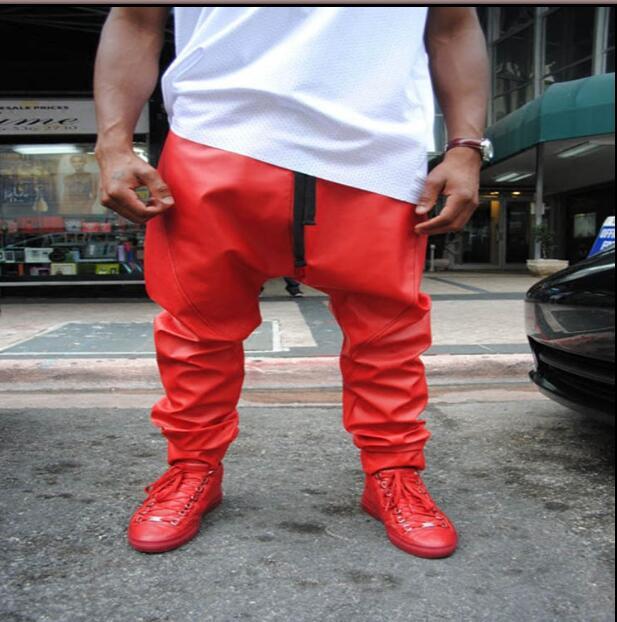 Europe et états-unis hip hop hommes personnalité décontracté en cuir pantalon Punk locomotive PU harem pantalon costumes de scène