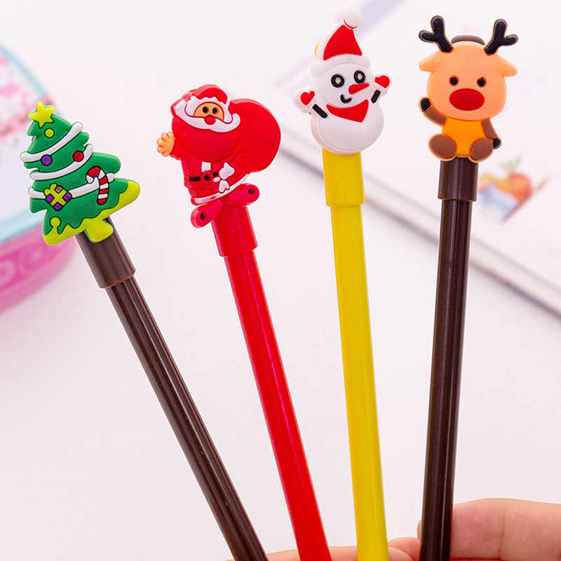 1Pcs New Christmas series Creative gel pen black 0.38MM black Christmas pen student writing tools Xmas Children's gift giveaway