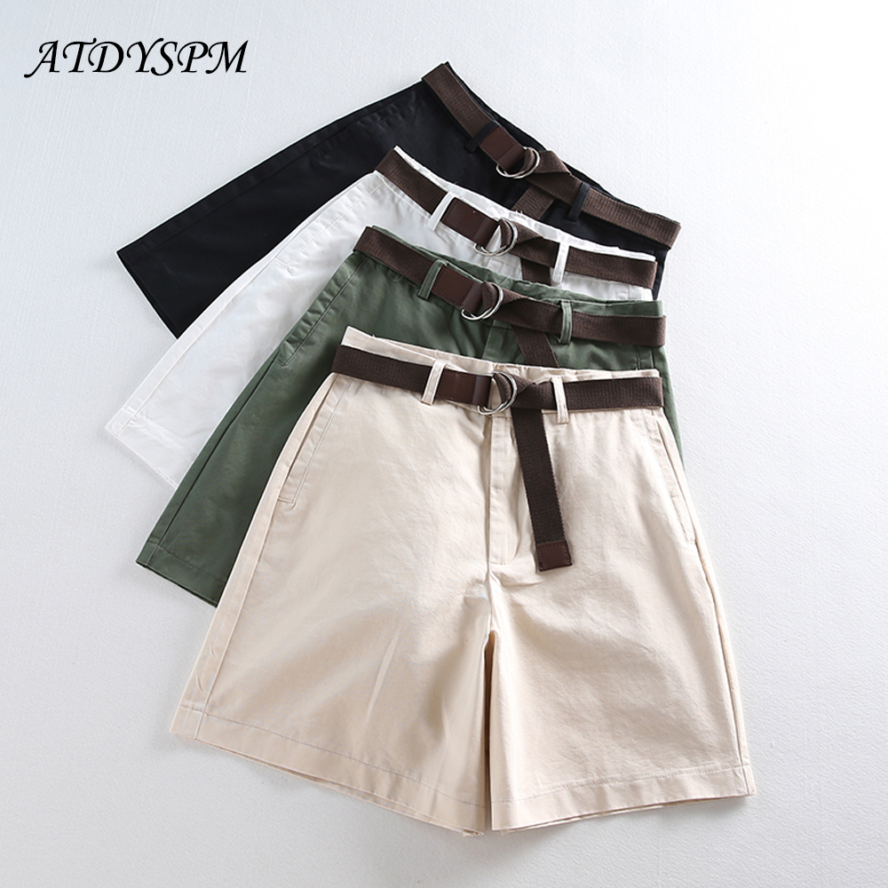 High Waist Shorts For Women 2019 New Summer Cotton  Loose Wide Leg Shorts Female Hot Shorts Casual Short Pants Free Belt