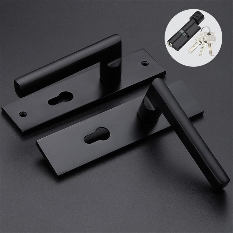 1PC Modernized Black Space Aluminum Door Handle & Lock With Keys Lever Handles Simple European Solid Lockset Handles Locker Set футболка классическая printio the black keys