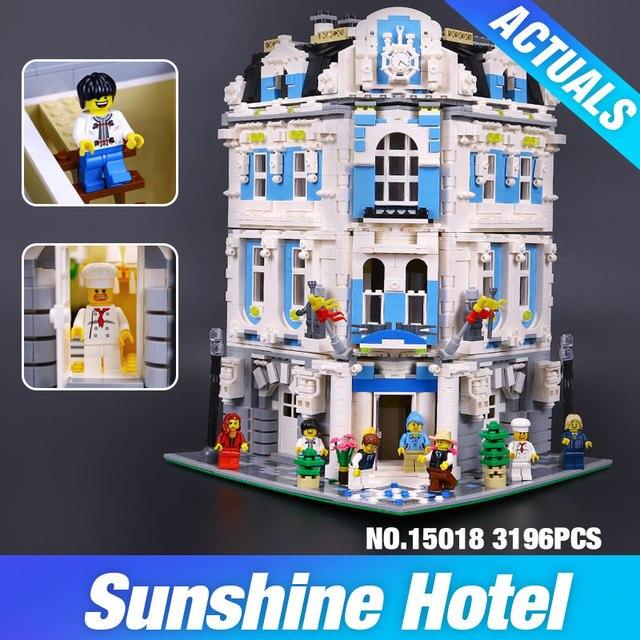 Nuevo 3196 unids Lepin 15018 MOC Creador Serie de La Ciudad Del Sol Hotel Conjunto Bloques de Construcción Juguetes de Los Ladrillos