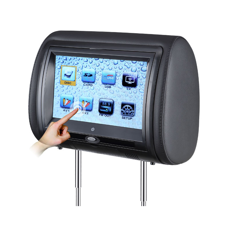 2 PCS 7 Inch Touch Screen Car Headrest DVD Player Monitor With 800480 TFT LED Support FM USB Games Remote Control