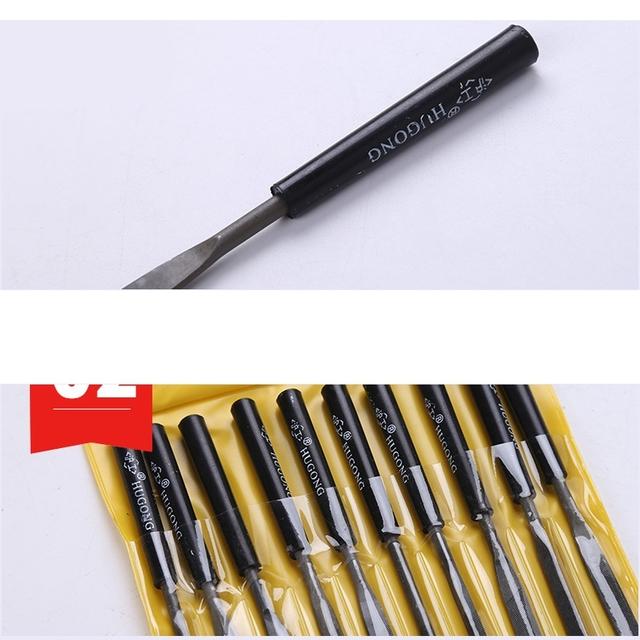10pcs Wood Rasp Files Woodworking Diameter Needle File Set Jeweler Carving Tools Metal Filing Mini Hand DIY Hobby Tool Flat