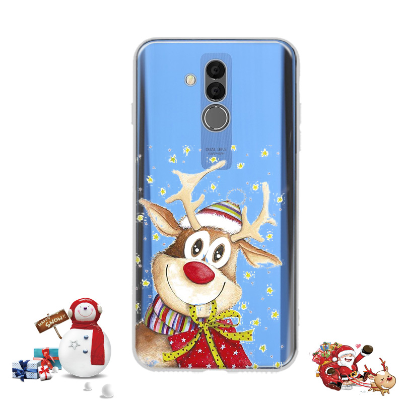 Lovely Santa Claus Elk Case Huawei Mate 20 Lite Case Cartoon Christmas Painted Cover Soft Cases Huawei Mate 20Lite Maimang 7