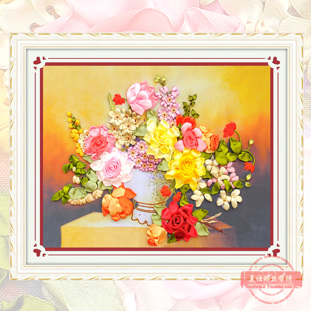 DIY Ribbon Embroidery Flower Vase Paintings HD Color Print Canvas ...