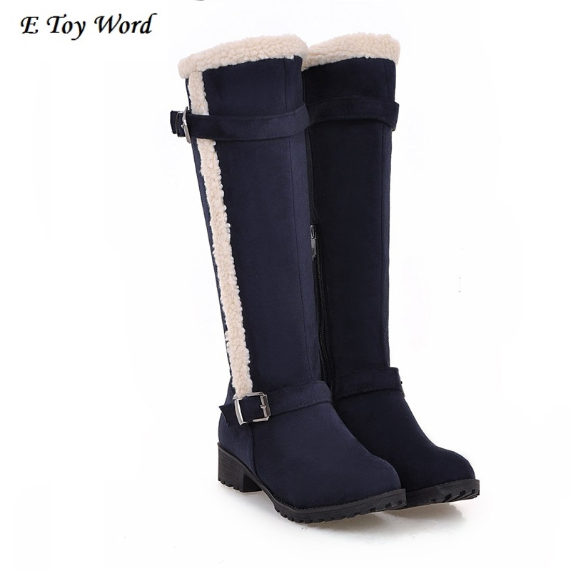 Women Winter Snow Boots Mid-Calf Solid Flats Winter PU Boots Women Warm Plush Boots Ladies Boots Plus Size 34-43 AA238 women orange white red boots fashion winter mid calf flat snow boots 2016 new woman warm plush ladies flats shoes boot big size