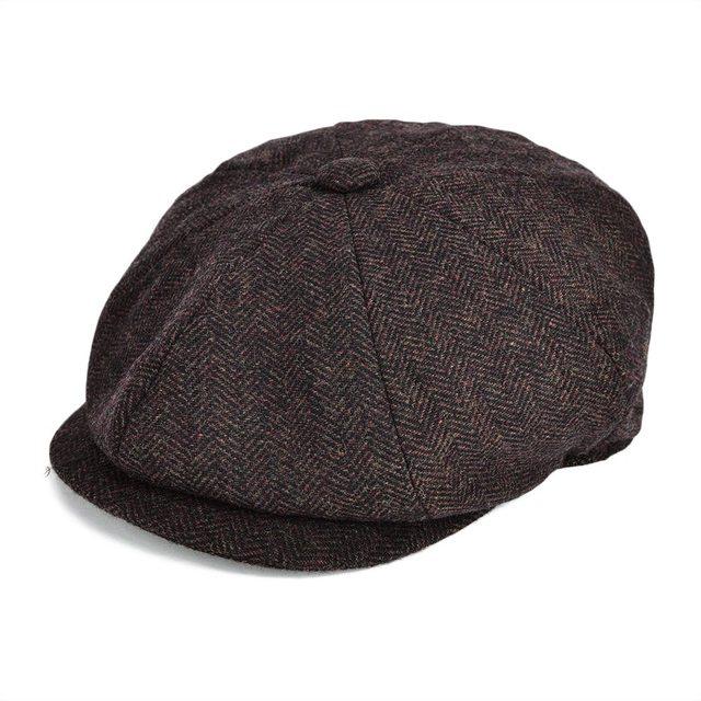 716ab2c9646 VOBOOM Wool Blend Tweed Newsboy Cap Men Apple Caps Women Herringbone  Striped Ivy Flat Hat Autumn Gatsby Classic Beret 131