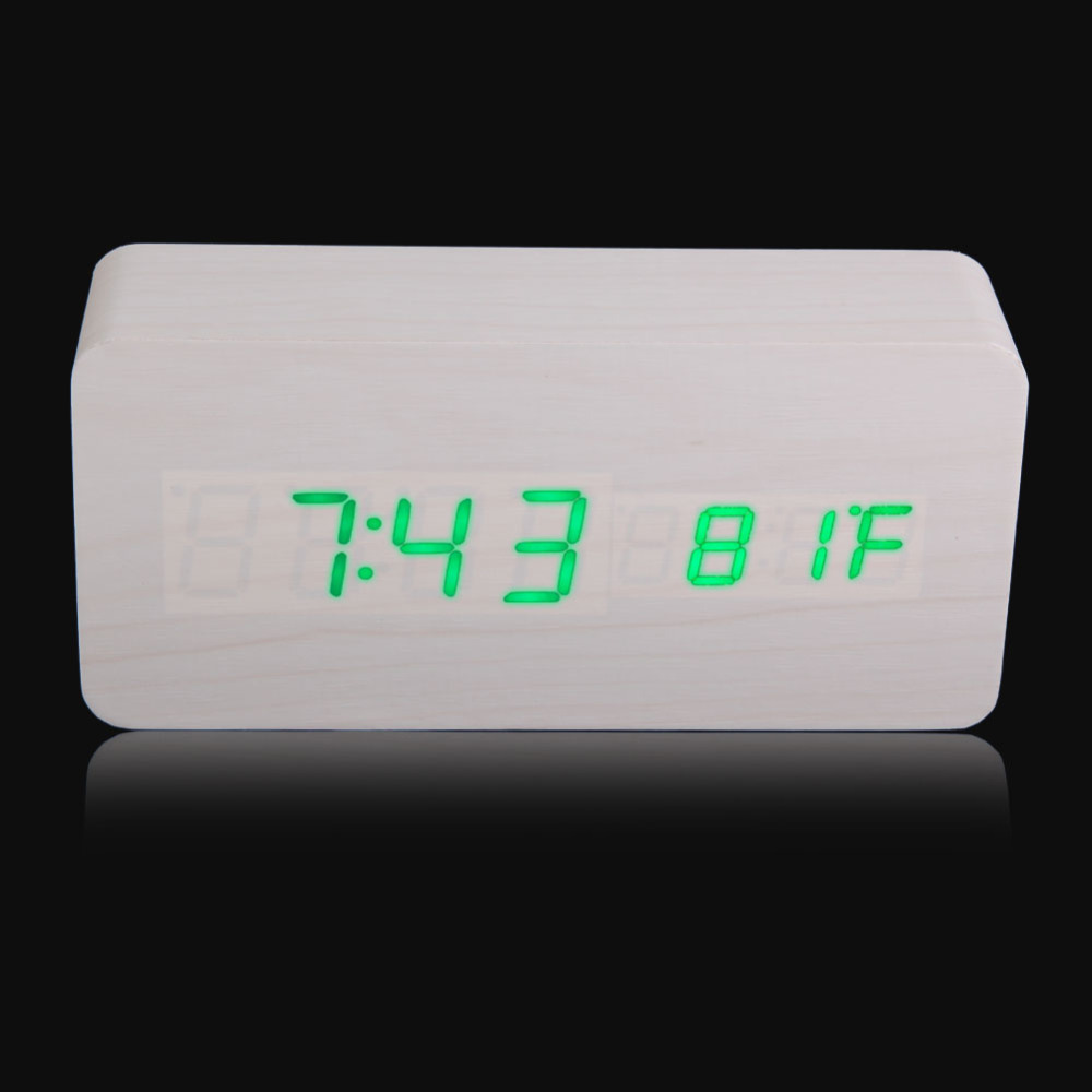 Rectangle Wooden Digital White Alarm Clock Calendar with Green LED Light has acoustic control sending function