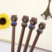 50pcs/lot Cartoon Bear Gel Pen 0.5MM Promotion Gift Kawaii Stationery Office School Supplies