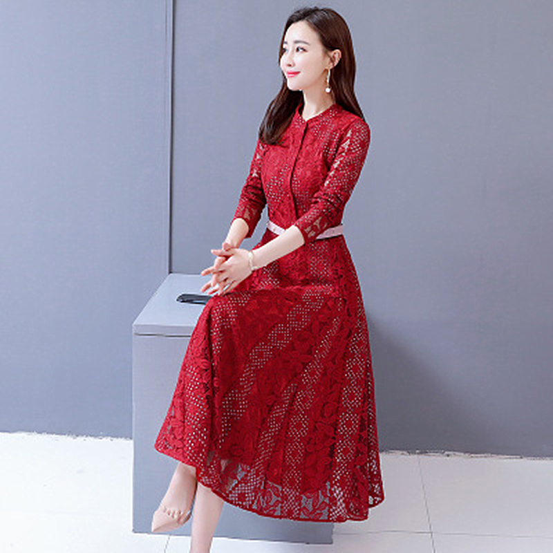 2019 Summer time New Temperament Woman Lace Massive Dimension Gown Style Elegant Self-cultivation Waist Massive Swing Girls Clothes Clothes, Low cost Clothes, 2019 Summer time New Temperament Woman Lace...