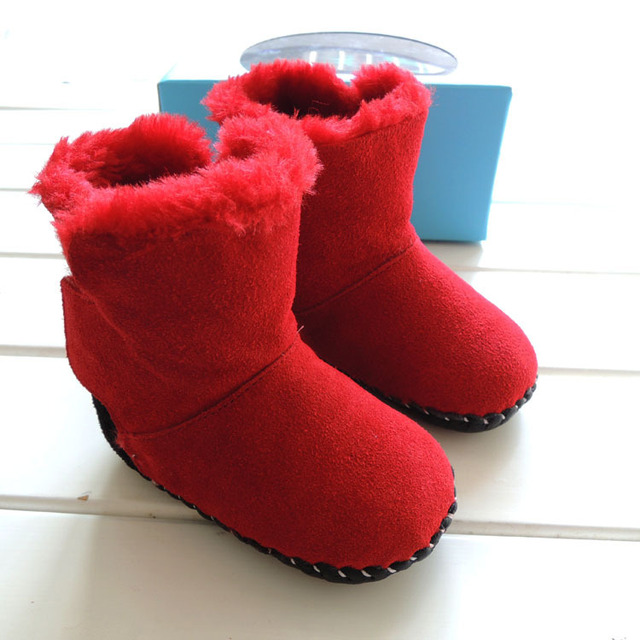 2017 OMN Brand Winter Worm Red Brown Color Baby Shoes Girls Snow Boots Soft Indoor Infant Toddler Shoes Genuine Leather Boots