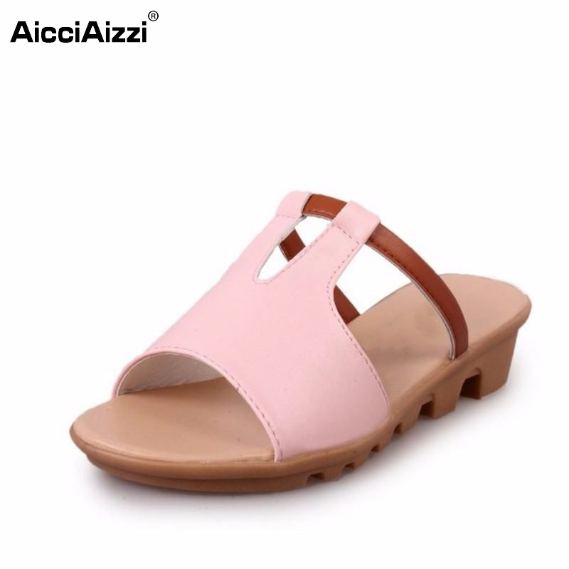 Summer Women Slippers Sandals Shoes Thick Heels Colorful Wedges Platform Slides Ladies Flip flops Beach House Sandals Size 35-40 2016 summer women flip flops platform wedges women sandals platform flip slippers beach shoes