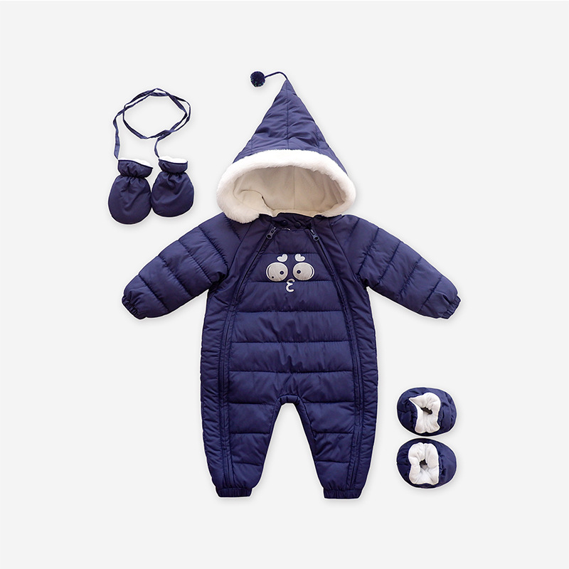 2017 NEW Baby Rompers Winter Thick Warm Baby girl boy Clothing Long Sleeve Hooded Jumpsuit Kids Newborn Outwear for 1-3T new baby rompers winter thick warm baby boy clothing long sleeve hooded jumpsuit kids newborn outwear for 0 12m