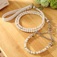 Free Shipping 2015 New Designer Pet Collar Leash Set For Dogs Cats White Diamond Wire Leash