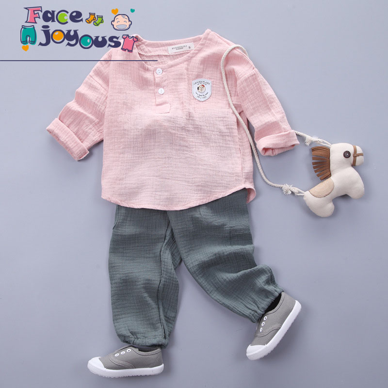 Spring Children Boy Girl Clothes Sets Kids 2Pcs Long Sleeve Cotton Linen T-shirt Toddler Suits Casual Pants Baby Clothing Suits casual kids hoodies clothes boys clothing 2pcs cotton shirt pants toddler boys clothing children suits baby boy clothes sets