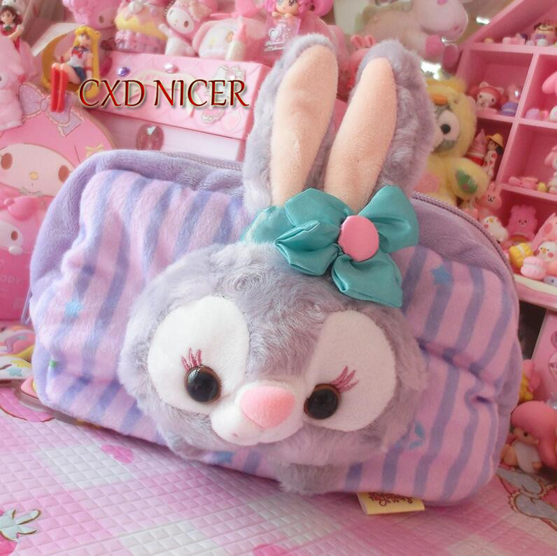 Plush Long Ear Flowers Rabbit Pencil Case 20*14cm Ballet Butt Fabric Pencil Cases School Supplies Stationery Cosmetic Bag DD2401 a