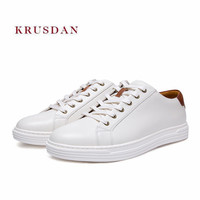 KRUSDAN Fashion New Brand Men Shoes Handmade Genuine Leather Sport Sneakers Lace Up Vulcanize Shoes Men Breathable Brown Flats