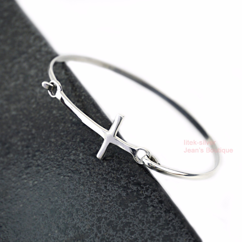 hugerect gi silver bangle charm gift cross stackable bangles bridesmaid sideways product bracelet