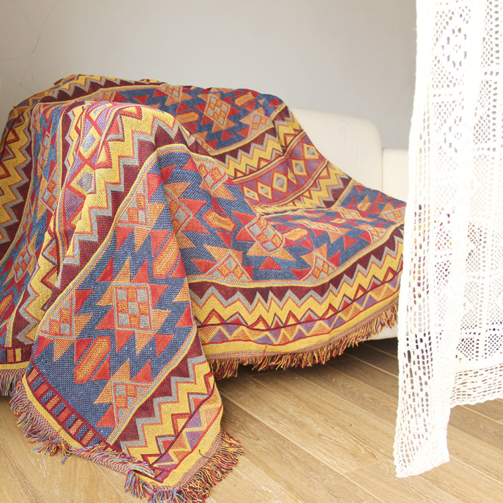ESSIE HOME Kilim Carpet For Sofa Living Room Bedroom Rug Yarn Dyed Sofa Blanket Turkish Ethnic