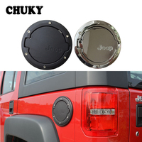 CHUKY 1pcs Aluminum Alloy Auto Car Gas Fuel Tank Cap Exclusive Logo Cover Decorative Accessories For 2007 2017 Jeep Wrangler JK