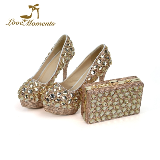 92009e72428fe Custom Design Champagne Gold Rhinestone Wedding Shoes 5 Inches High Heel  Mother of the Bride Shoes with Matching Purse Size 12