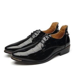Image 3 - Mode Business Männer Kleid Schuhe Aus Echtem Leder Spitz Slip auf Wohnungen Loafers Formale Büro Schuhe Männer Leder Oxfords