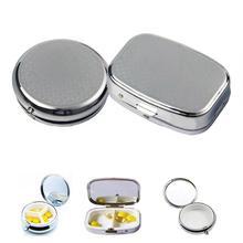 Портативный Серебряный металлический прямоугольный круглый контейнер для таблеток, держатель для лекарств, таблеток, капсул, контейнер для хранения, для путешествий