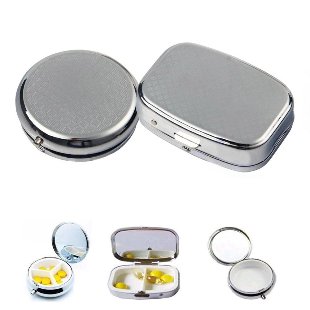 Portable Silver Metal Rectangle Round Pill Box Drug Holder Medicine Tablet Capsule Box Container Storage Travel silver