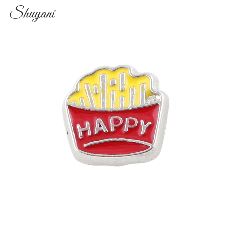 Factory Price 8*9mm Alloy Metal Kids French Fries Charms Fit Memory Glass Lockets