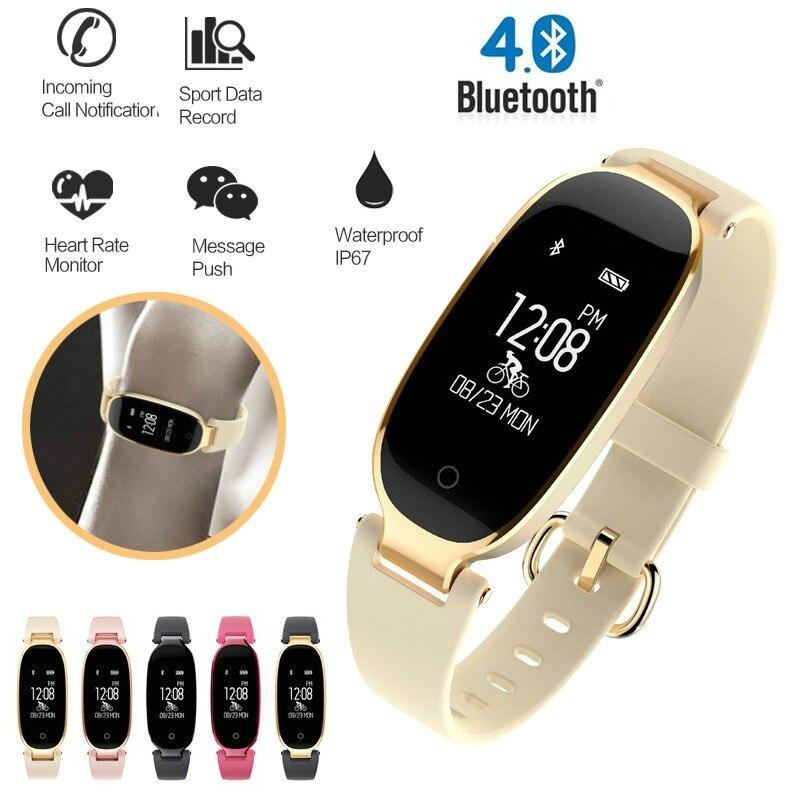 купить 2018 Women's Smart Waterproof Watch Bluetooth Bracelet S3 Fashion Ladies Heart Rate Monitor Fitness Tracker Android IOS Saat по цене 1903.25 рублей