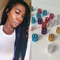 100Pcs/Lot Mix Silver Golden Plated Hair Braid Dread Dreadlock Beads Adjustable Cuff Clip Hole+ 1pcs Free Crochet Needle Tool