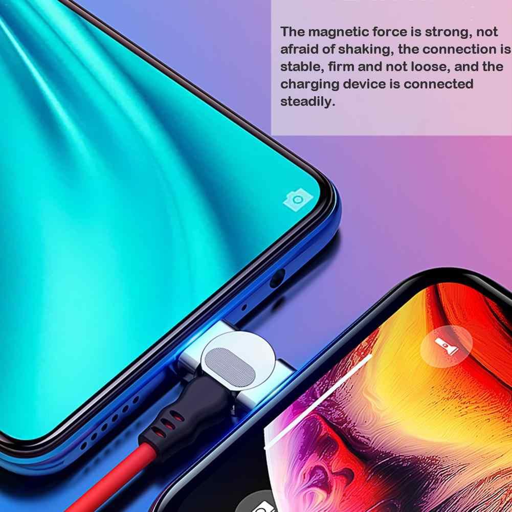 Kabel Micro USB Tipe C UNTUK iPhone Kabel 180 Gelar Siku 1M 2.4A Cepat Pengisian Magnet Kawat Charger kabel Telepon