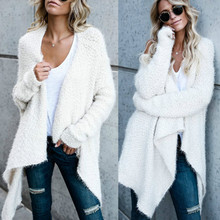 hirigin Autumn Winter High Quality Women Mohair Croche Knitted Cardigan Sweater Long Sleeve Female Casual Long Sweater 3 Collor(China)
