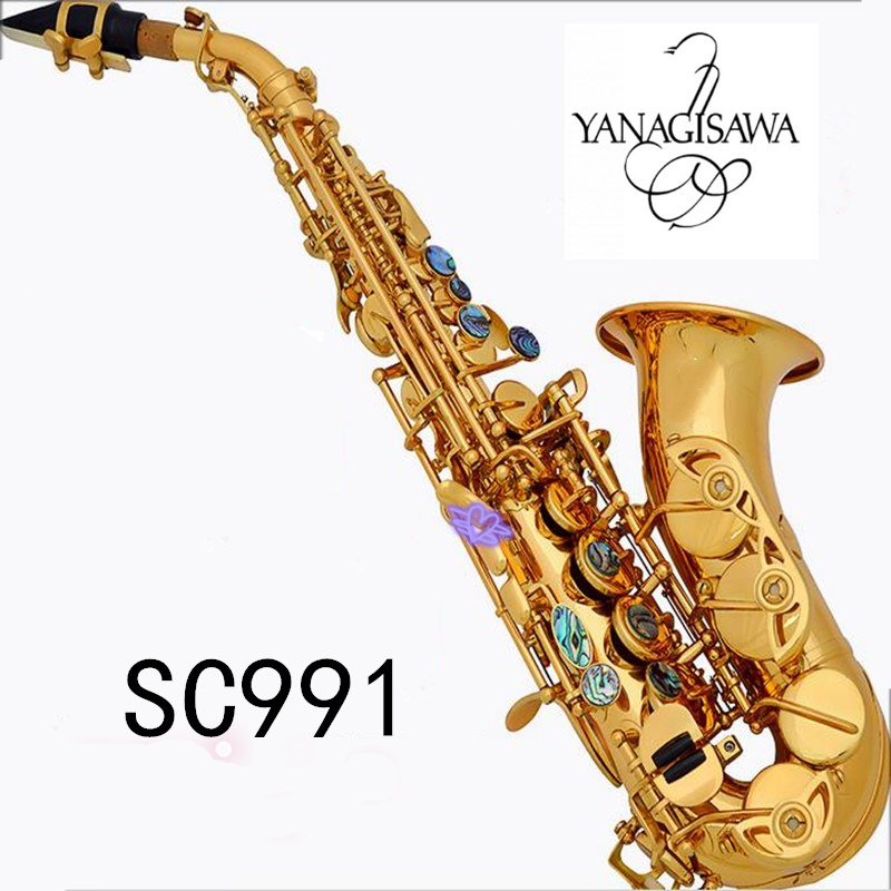 YANAGISAWA Curved Soprano Saxophone SC-991 Gold Brass Sax B-flat Mouthpiece Patches Pads Reeds Bend Neck Musical Instrument soprano saxophone bb curved sax high f with case the blue silver keycopper simulati copper simulation soprano saxophone