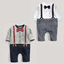 New Baby Boy Bodysuits Long Sleeve Spring Autumn Fine Gentleman Cute Bow Soft Clothing Toddler Kids Gift Hot Sale
