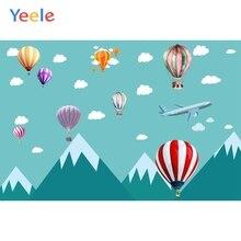 Yeele Cartoon Hot Air Balloon Photography Backgrounds Baby Birthday Party Custom Vinyl Photographic Backdrop For Photo Studio