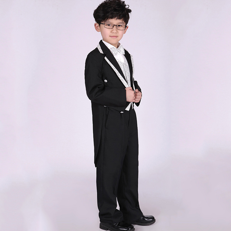 Boys Black Wedding Suits Kids Silver Vest Collar Tuxedo Suits ...
