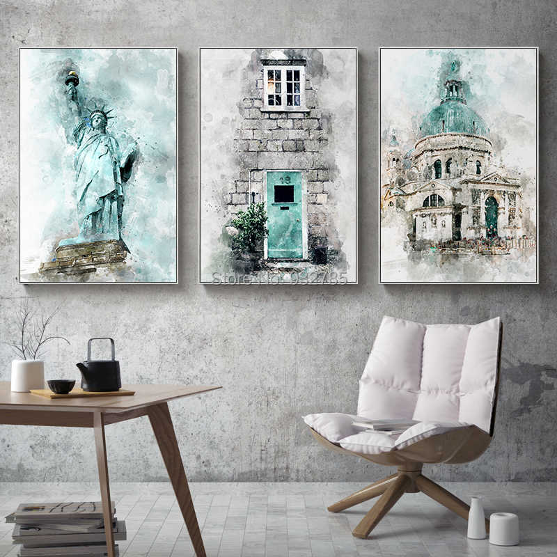 Nordic Abstract Statue of Liberty Buildings Canvas Painting Print Picture Poster Wall Art Living Room Bedroom Home Decor