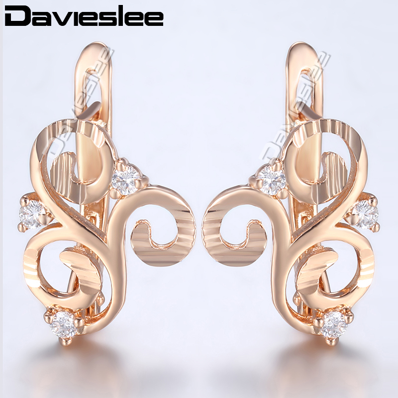 Davieslee 585 Rose Gold Filled Earrings For Women Paved Clear CZ Embossed Cloud Shaped Stud Earrings Fashion Jewelry LGE168