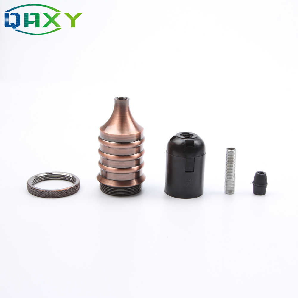E27 110V-240V Vintage Edison Lamp Base Pendant Light Socket Screw Bulb Base Golden Copper Black Metal Alloy Light Socket[F1558]