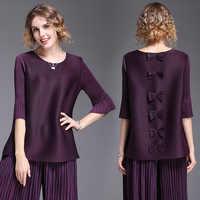 Miyake rides nœud papillon T shirt élastique lâche grande taille femmes tendance T shirt d'été plissé livraison gratuite