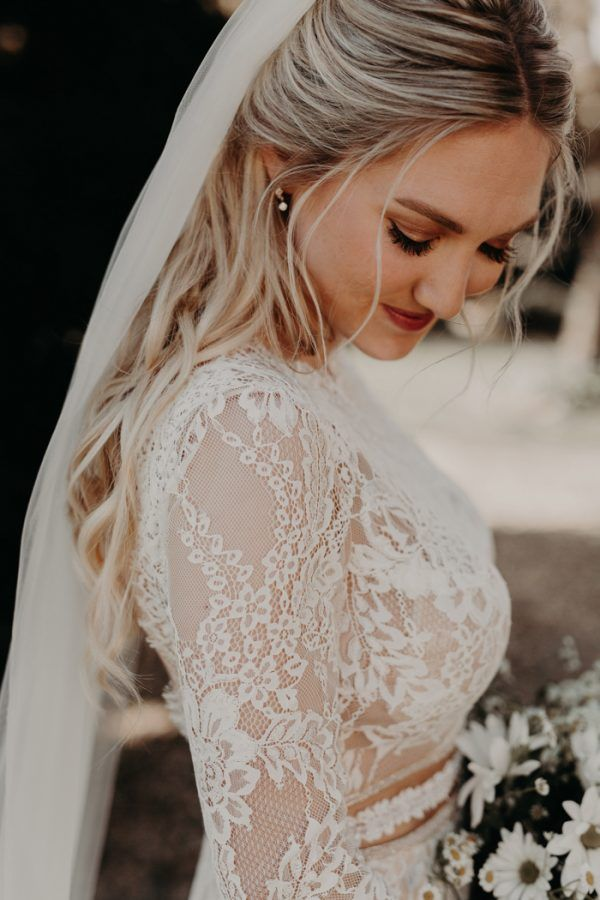 Купить с кэшбэком Robe De Mariage Wedding Dresses Boho 2020 Long Sleeves Lace Chic Bohemian Wedding Dress Bridal Gowns