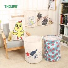 Thours Cartoon Animals Collapsible Large Laundry Basket Dirty Clothes Storage Bucket Elephant Kids Toys Organizer Barrel