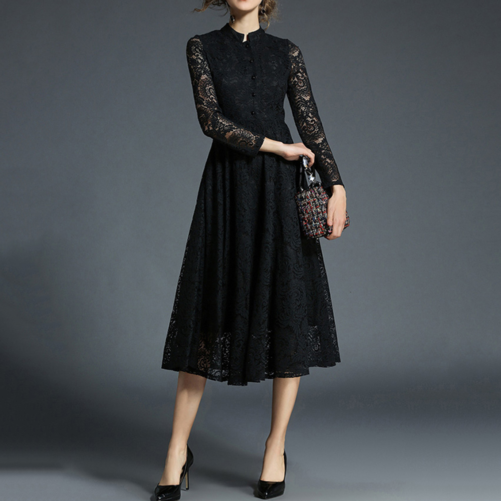 Sisjuly Ladylike Elegant Hollow Button Women Lace Dress Black Long Celebrity Inspired Dresses Vintage Dresses Woman Party Night