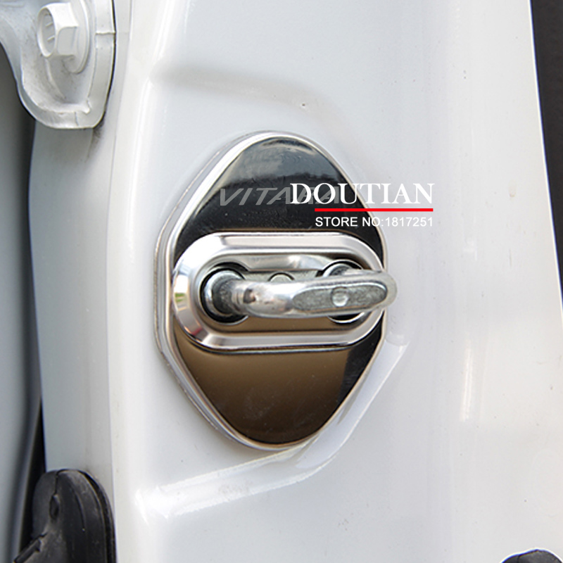 NEW 3D Stainless Steel Door Lock Buckle Protection Protective Cover trim 4pcs For Suzuki Vitara 2018 2016 2017 car Accessories