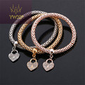2016 3Pcs Silver/Gold/Rose Gold Filled Charm Bracelets For Women Pulseiras Luxury Love Bangle Fashion Multilayer Bangle BG144