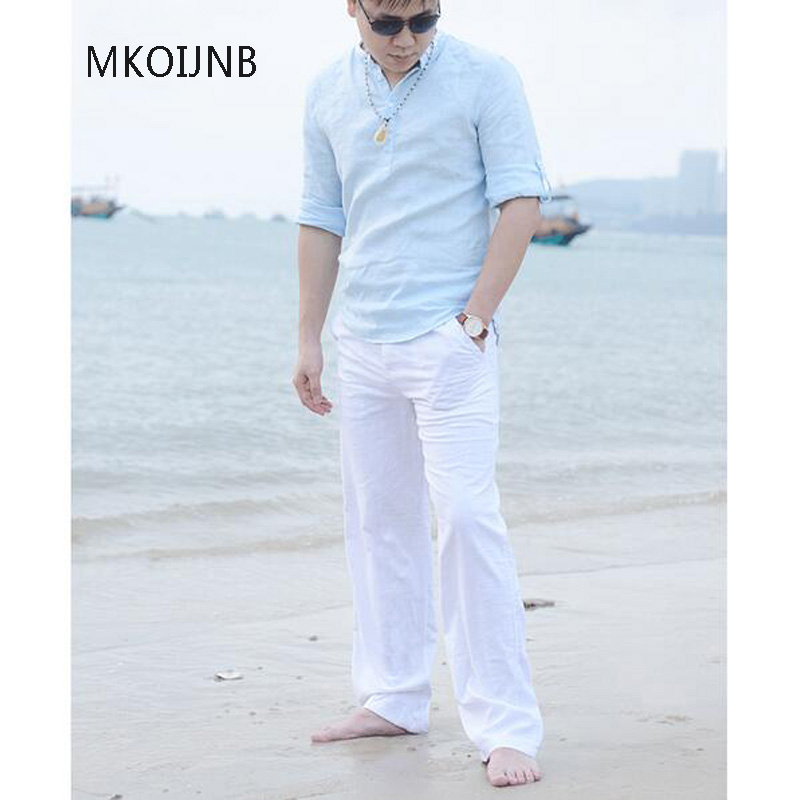 New High quality Men s Summer Casual Pants Natural Cotton Linen Trousers White Linen Elastic Waist