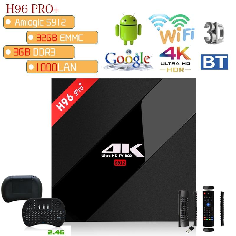 Xinways 4gb tv box android 7.1 OS H96 pro+ 4k Amlogic S912 Octa Core 2.4G/5G WIFI 3GB RAM 32GB ROM 4K HD smart pro plus tv box 5pcs android tv box tvip 410 412 box amlogic quad core 4gb android linux dual os smart tv box support h 265 airplay dlna 250 254